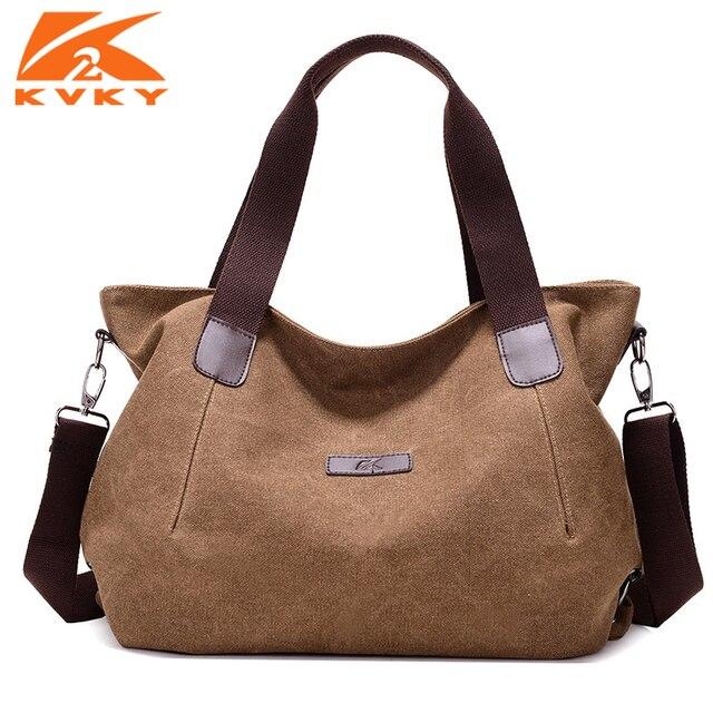 ecb0b8c3ae KVKY Bolsa Lona Ocasional saco de Lona de Grande Capacidade das Mulheres  Sacos de Ombro Crossbody