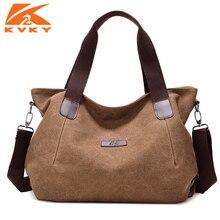 KVKY สตรีขนาดใหญ่ผ้าใบกระเป๋าถือกระเป๋า Casual Canvas ไหล่ VINTAGE Crossbody Messenger กระเป๋าหญิง Tote กระเป๋า Trapeze