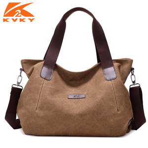 Image 1 - KVKY Large Capacity Womens Canvas Handbag Casual Canvas Shoulder Bags Vintage Crossbody Messenger Bags Female Tote Bags Trapeze