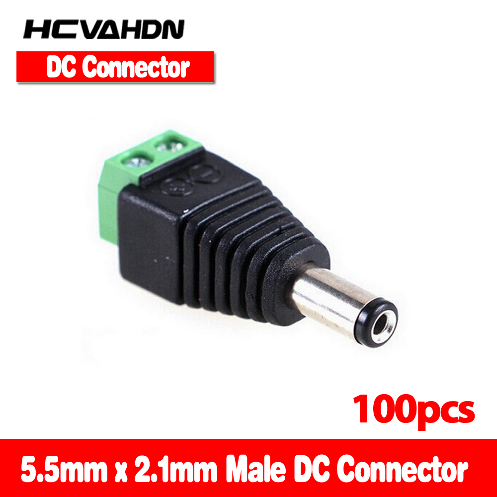100pcs/lot 2.1 x 5.5mm bnc connector DC Male Adapter Surveillance System Power Supply for CCTV IP Camera cctv accessories 10 pcs lot cctv system solder less twist spring bnc connector jack for coaxial rg59 camera for surveillance accessories