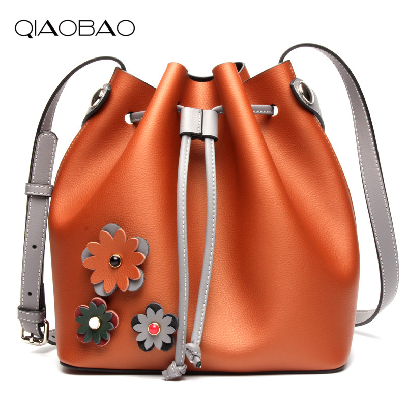 QIAOBAO 2018 Hot Brand Hot Sale New Fashion Buckets Women Bags 100% Cowhide Leather Lady Bags Original Quality Bags