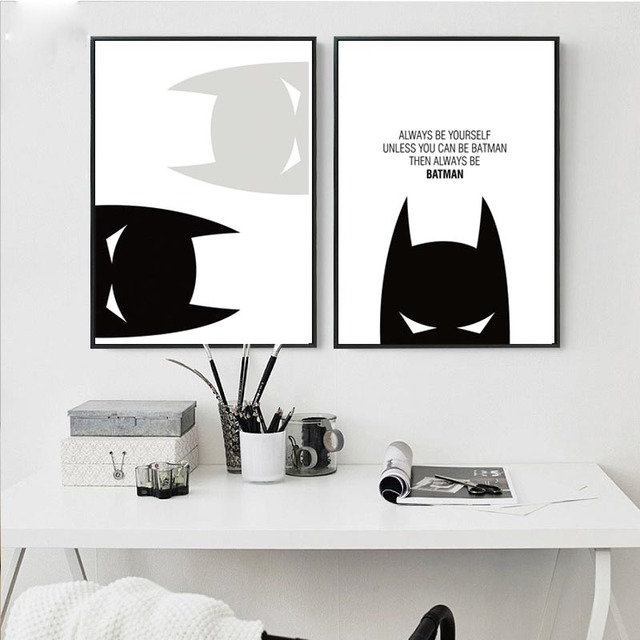 Cartoon Superheroes Batman Motivational Poster Quote Print Wall Art Canvas  Painting Nursery Picture Baby Living Room