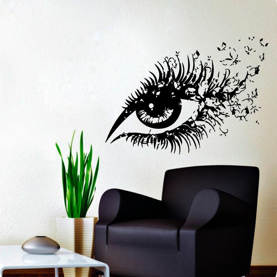 Krásná žena oči vinyl vinyl nálepka sexy oko s motýly domácí - Dekorace interiéru