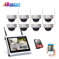ARSECUT Wireless CTV System 12Inch LCD Screen 8CH NVR Kit IR Outdoor Waterproof Security Camera 8PCS