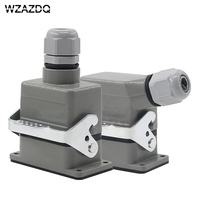 Rectangular heavy duty connector HE 6 core industrial waterproof aviation plug socket outlet line or side outlet 16A 500V WZAZDQ