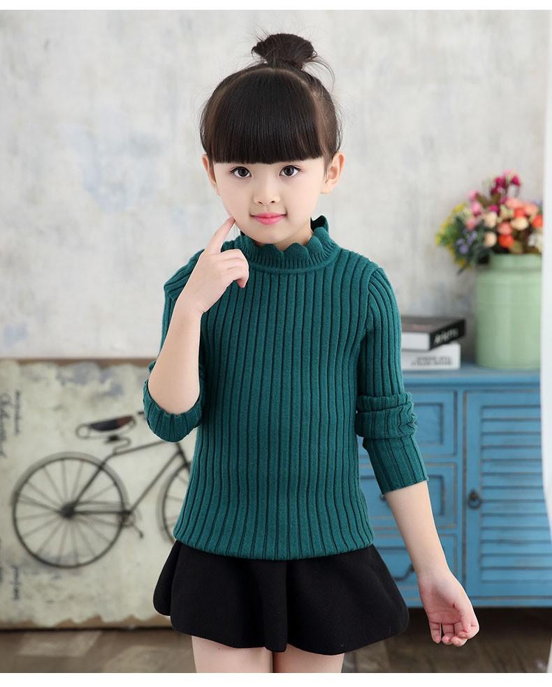 knitting big baby girls sweaters kids winter sweater 2016 long sleeve tops knitted kids sweaters girls pink green black kids top (4)