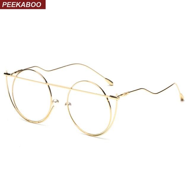 Peekaboo silver gold round glasses frames for men 2018 metal big ...