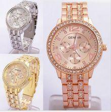 Мужчины Женева Часы Женщины Rhinestone Часы Повседневная Аналоговый Кварцевые Часы Часы Дамы Платье Розового золота Наручные Часы