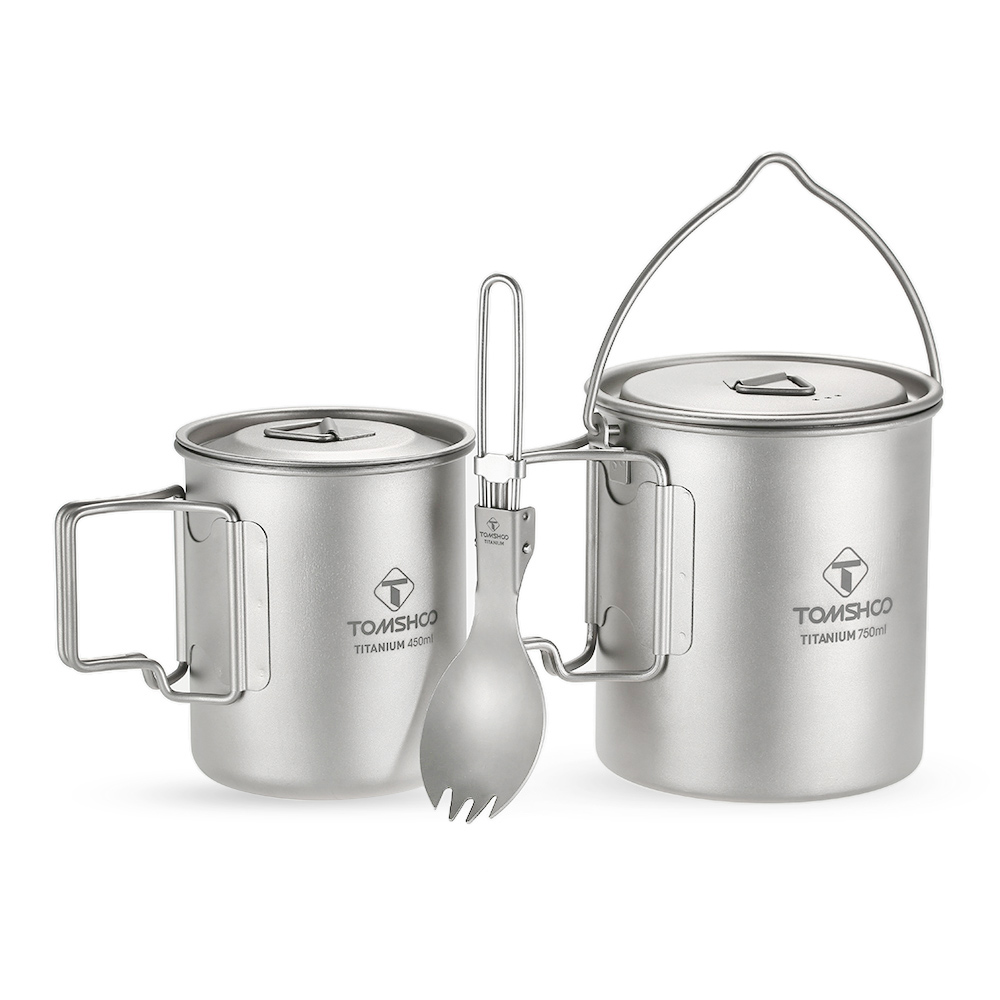 TOMSHOO 3 Pcs Set Titanium 750ml Pot 450ml Water Cup Mug with Lid Collapsible Handle Folding Spork Lightweight Camping PicnicTOMSHOO 3 Pcs Set Titanium 750ml Pot 450ml Water Cup Mug with Lid Collapsible Handle Folding Spork Lightweight Camping Picnic