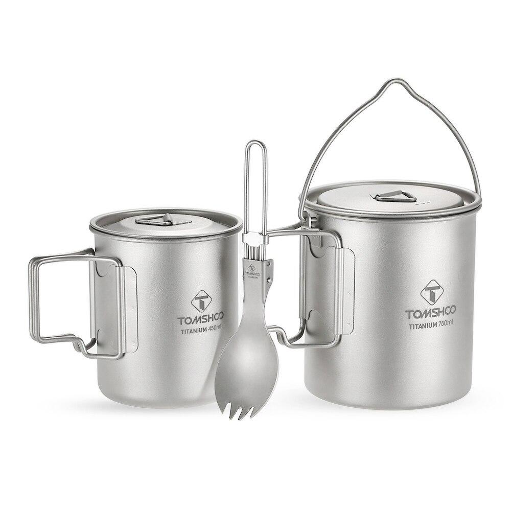 TOMSHOO 3 pcs Ensemble Titane 750 ml Pot 450 ml Tasse D'eau Tasse avec Couvercle Pliable Poignée Pliage Spork Léger camping Pique-Nique