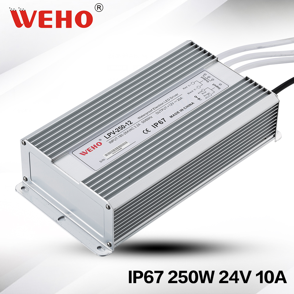 (LPV-250-24) 110VAC(220VAC) to 24vDC Power transformer waterproof IP67 dc 250w 24v waterproof led driver meanwell 24v 60w ul certificated lpv series ip67 waterproof power supply 90 264v ac to 24v dc