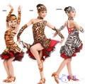 2015 новые дикие девушка латинской сальса танец платье, Сценическое шоу all-матч леопардовый zebra-полосой бальные фламенко платье