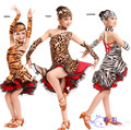 2015 New sex wild girl latin salsa dance dress, stage performance show match leopard print zebra stripe ballroom flamenco dress