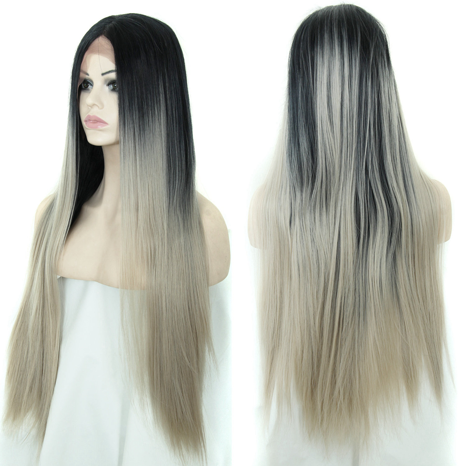 Long Synthetic Lace Front Wig Women Straight Grey Ombre Two-Tone Wigs - Emily Hair store