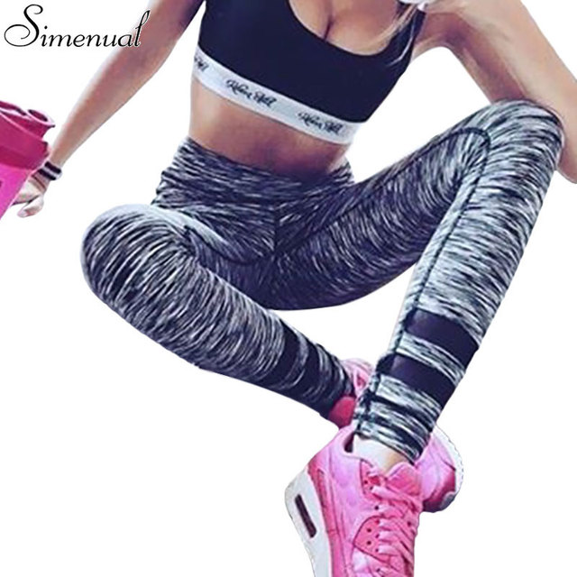 Athleisure fashion striped leggings for women hot sale harajuku slim elastic jeggings high waist push up fitness legging active