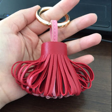 Luxury Mixed Color Real Leather Tassel Keychain Bags Car Key Chain Key Ring Women Bag Charm Pendant Accessorie jewelry Chaveiro недорого