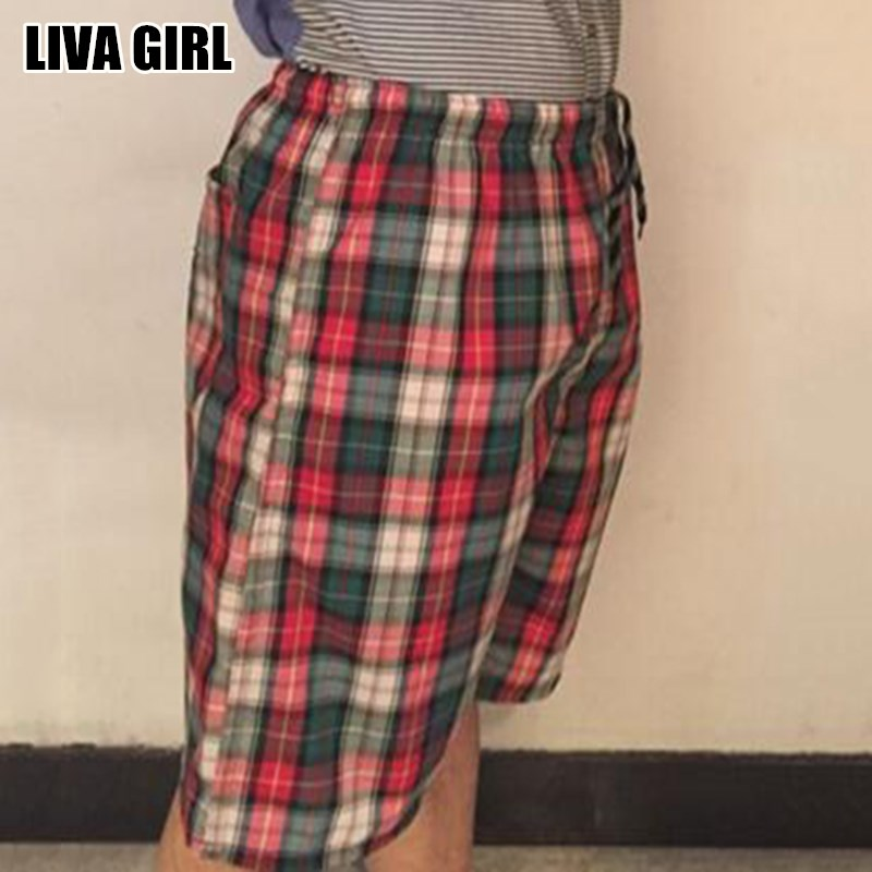 Liva Girl Summer Casual Men Shorts Beach Board Plaid Pattern Shorts Soft Breathable Cotton Plus Size 3XL For Male Clothings