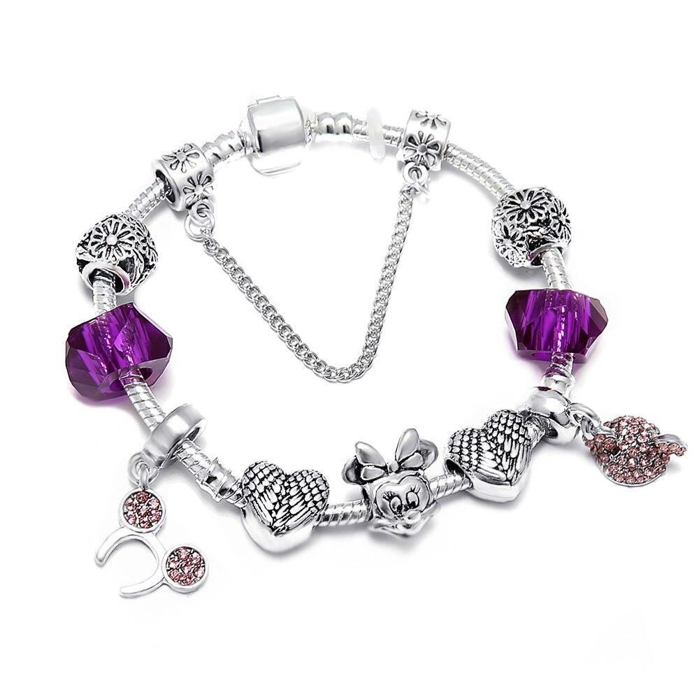 SPINNER Mickey Lover Heart DIY Charm Bracelet Snake Chain Pandora Bracelet for Women Jewelry Gift