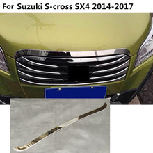 Car front engine Machine grille grill upper hood stick lid trim frame 1pcs For Suzuki S-cross scross SX4 2014 2015 2016 2017