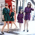 2016 Autumn mother daughter dresses plaid mother and daughter clothes family look matching mother daughter clothes free shopping