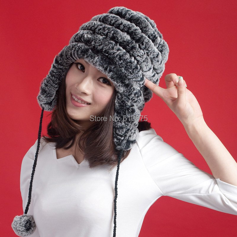 Women oversized winter thick rabbit fur hats female autumn plus size stretch rabbit fur caps lady warm stripe Weave 100% fur hat rabbit hair lady autumn winter new weaving small pineapple fur hat in winter to keep warm very nice and warm comfortable