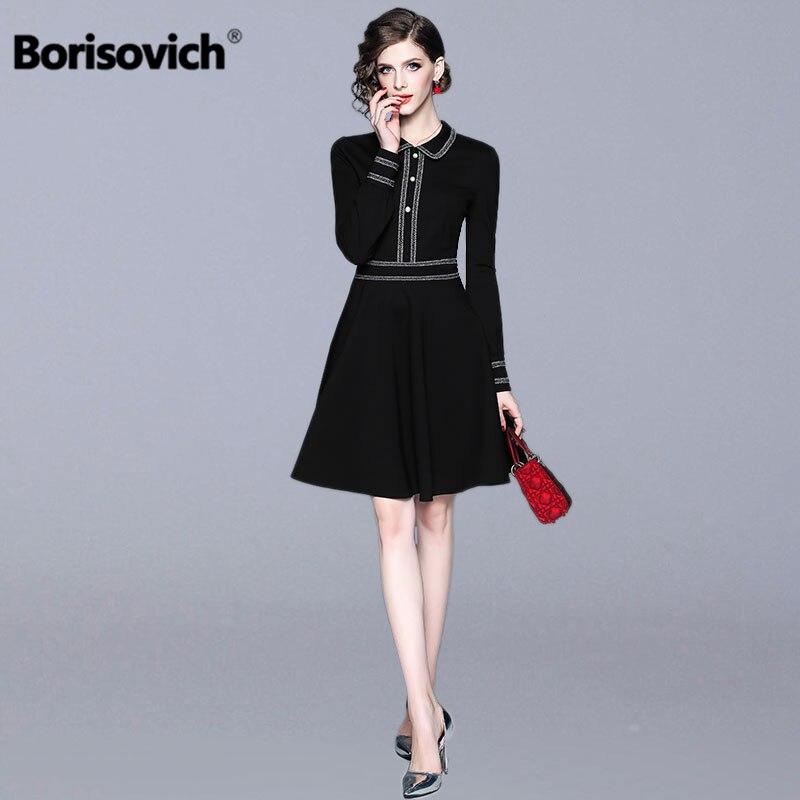 Borisovich dames élégant robe de soirée nouveau 2019 printemps mode Peter Pan col élégant a-ligne femmes noir robes décontractées N474