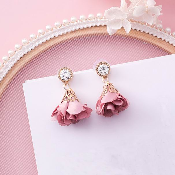 MENGJIQIAO 2018 Korean New Shiny Crystal Cloth Flower Drop Pendientes Mujer Moda Summer Accessories Cute Boucles Doreilles