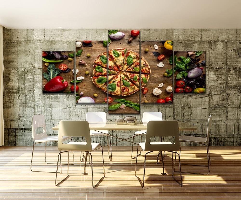 5 Piece Food Painting Pizza And Edible Vegetables Restaurant Shop Wall Decorative Delicious Poster Canvas Print Type