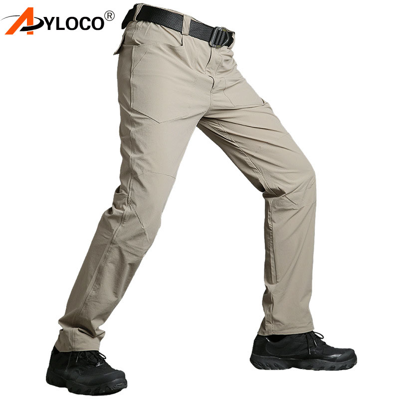 AYLOCO Mens Summer Tactical Pants Men Quick Dry Cargo Pants Military Active Casual Pants Army Combat Trousers