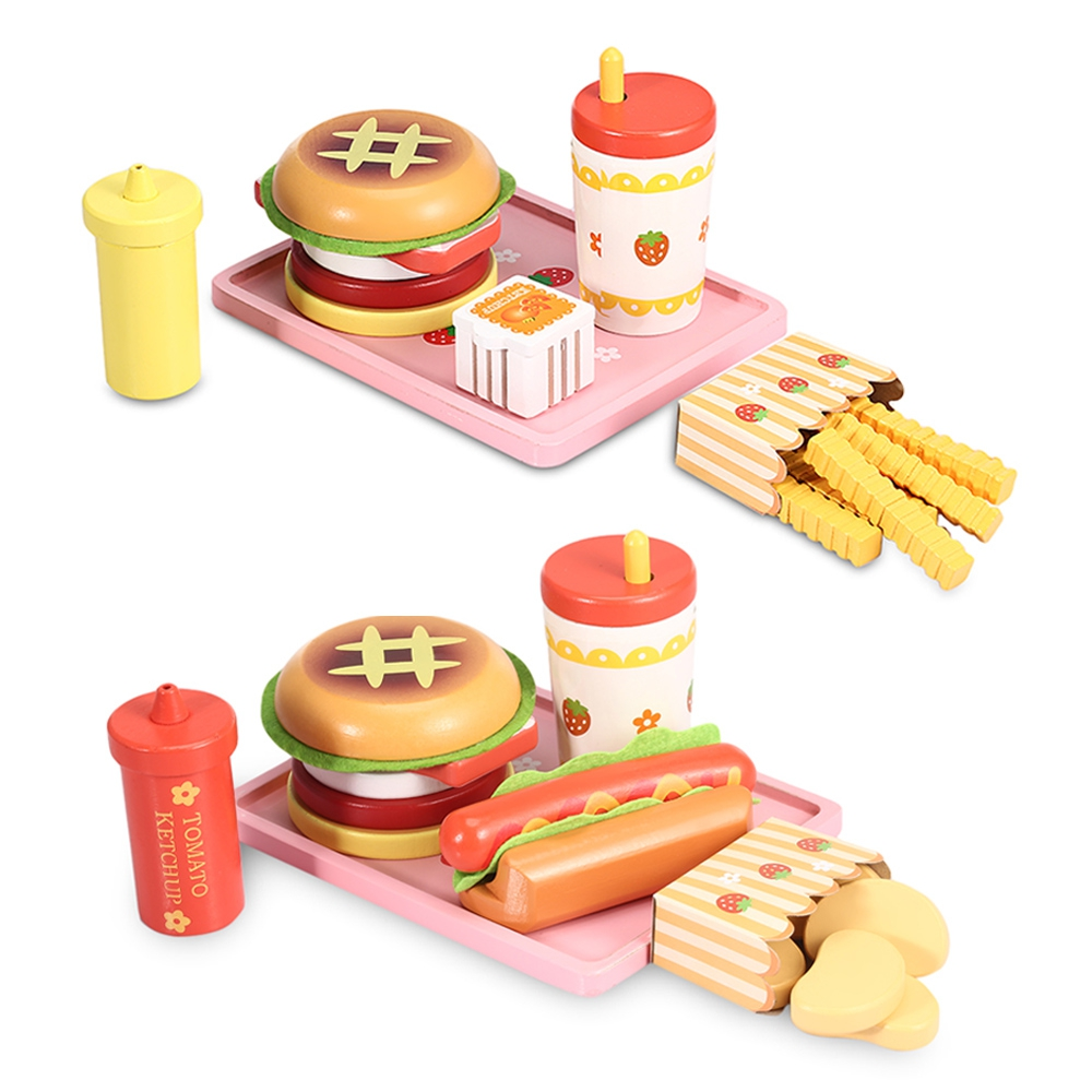 Children Simulated Non-toxic Wooden Hamburger Hot Dog Drinks Kitchen Food Set Pretend Play Toys Learning Education Toys for Kids wooden kitchen toys for girls kids pretend play food eggs baby toys set yolk food eggs preschool educational toys for children