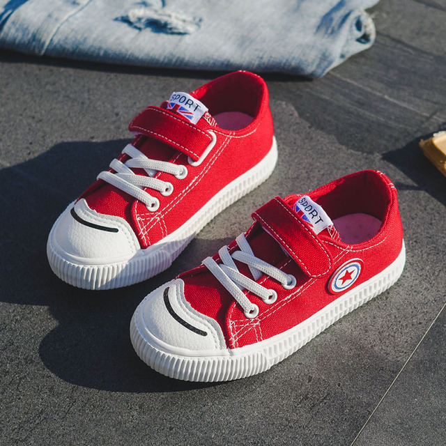 212dd57c Kids Shoes For Girls Canvas Boys Sports Shoes Smile Candy Color Hook & Loop Sneakers  Children