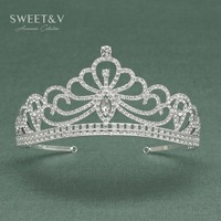 SWEETV Peacock Shaped Rhinestone Tiaras And Crowns For Women Crystal Hair Jewelry Costume Accessories For Wedding