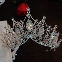 High Quality Crystal Pearl Wedding Tiara Crown Queen Women Luxury Bridal Headband Hair Accessories Flower Crowns Hair Jewelry