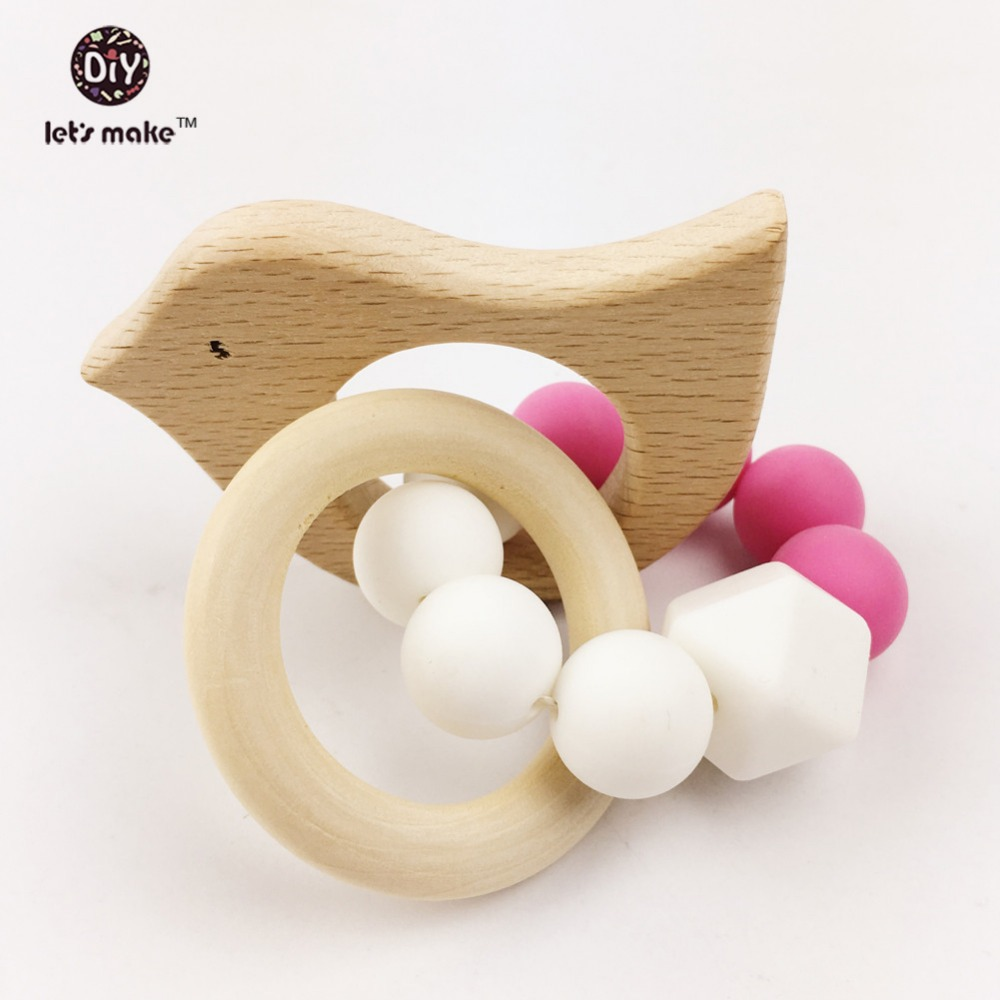 Teethers Wooden Toys Animal Shaped Jewelry Teething For Baby Organic Wood Silicone Beads Baby Rattle Stroller Accessories Toys
