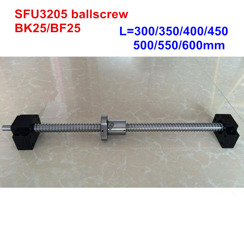 SFU3205 - 300 350 400 450 500 550 600mm ballscrew with end machined + BK25/BF25 Support CNC parts ballscrew set sfu3205 300 350 400 450 500 550 600 mm with end machined 3205 ballnut bk bf25 end support for cnc parts