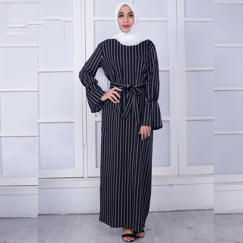 Vestidos 2019 Abaya Dubai Kaftan Turkey Arabic Striped Maxi Hijab Muslim Dress Robe Musulmane Longue Turkish Islamic Clothing