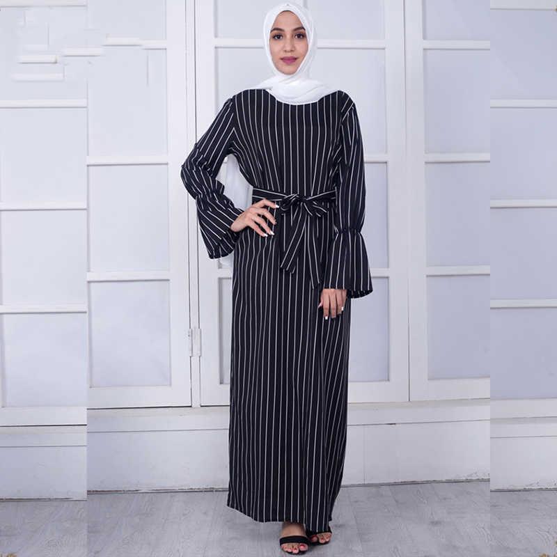 ea8bbfb4df Vestidos 2019 Abaya Dubai Kaftan Turkey Arabic Striped Maxi Hijab Muslim  Dress Robe Musulmane Longue Turkish