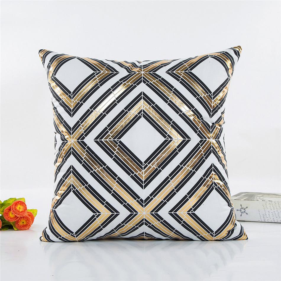 Geometria Bronzing Cushion Cover Strip Love Printed Cotton Pillows Case Sofa Bedroom Home Office Decorative Throw Pillowcases (3)