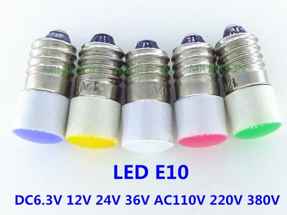 5pcs//set  E10 Led Bulb DC 3V 4.5V Instrument Bulb Indicator Bulb Flashlight Bulb