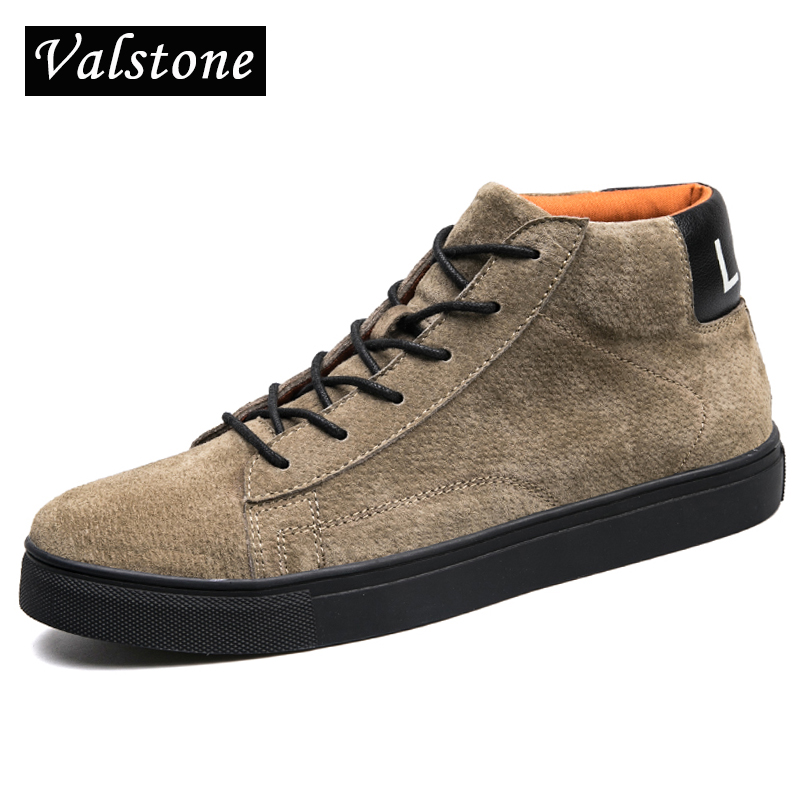 Valstone Men High Top Microfiber Leather shoes warm winter boots autumn casual sneakers skate board flats winter velvet optional