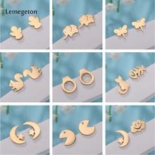 Lemegeton Kids Earrings Women pacman Elephant Squirrel Cat Handcuff Stainless steel earrings minimalist  Jewelry