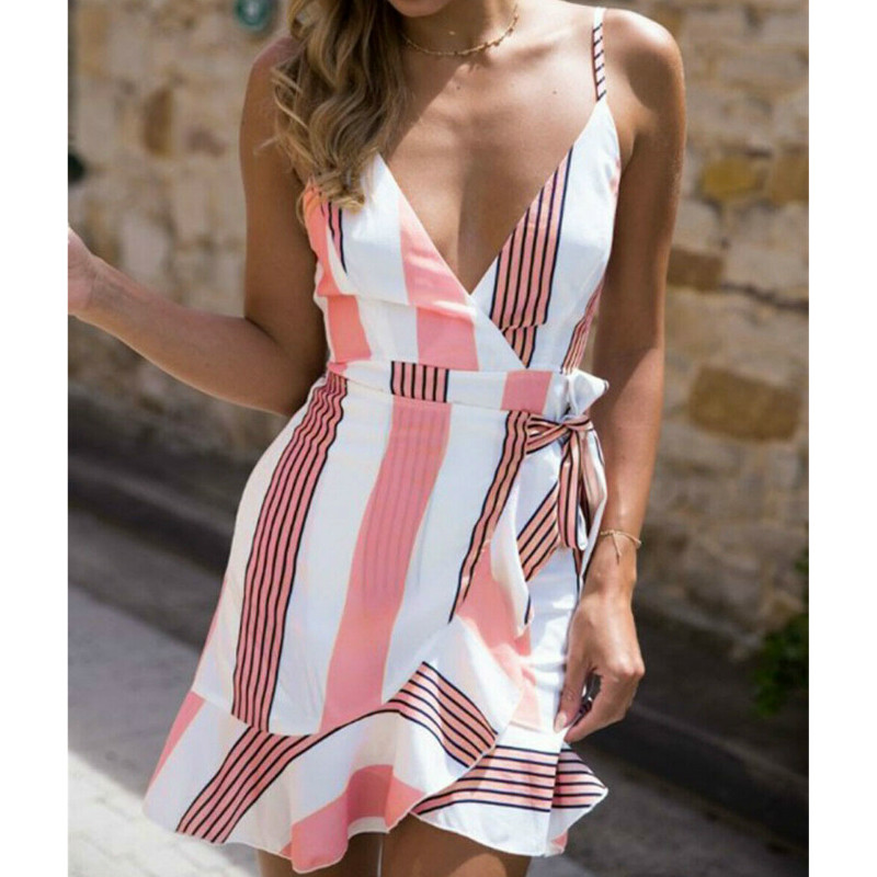 Party Mini Women's Casual Hot Dresses Strapless  Summer Beach Style Casual  Mini Dress