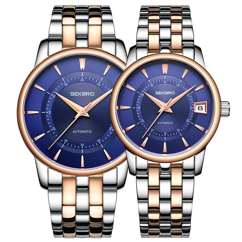 Sekaro Lover Couple Watches Men Women Clock Automatic Mechanical Luxury Brand Fashion Trend Steel Waterproof Love Watch For Gift