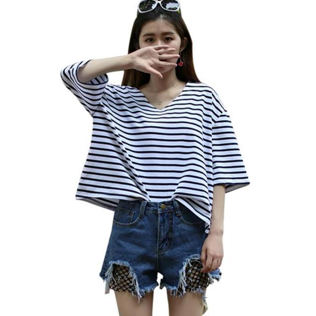 11ca5ee5b9e Oversize T-Shirt Women 2017 Summer Casual Batwing Sleeve Loose Cotton Tops  Blue And White Striped Tees Female V Neck T-Shirts