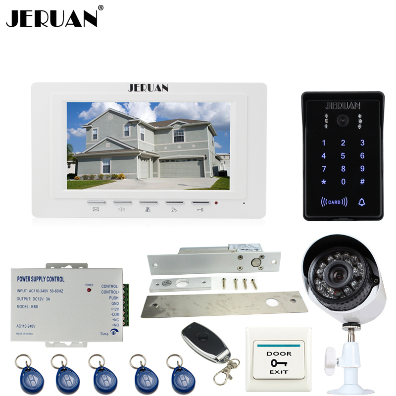 JERUAN brand new 7``video door phone intercom System monitor waterproof Touch Key password keypad Camera+700TVL Analog Camera jeruan home wired 7 inch touch key video doorphone intercom system 2 monitor 700tvl waterproof touch key password keypad camera