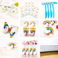 Unicorn Party Supplies Cup Plate Banner Hat Straw Loot Bag Fork knive horn Kids Rainbow Balloons