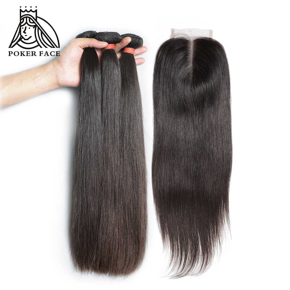 Poker Face Brazilian Straight Remy 3 Bundles Hair with 4X4 inch Frontal Closure Natural Human Hair Extension 12-24 inch