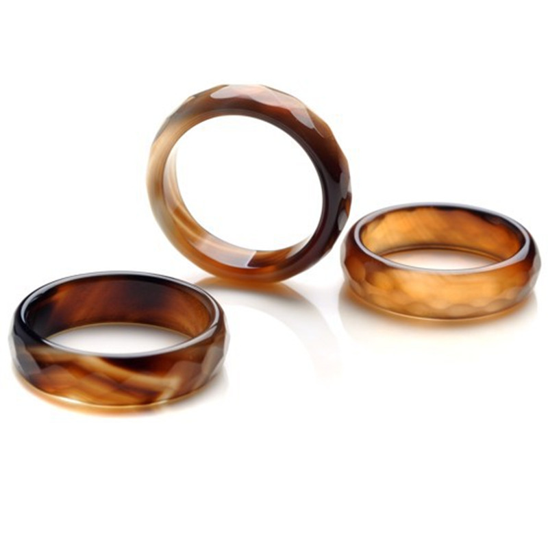 20pcslot new natural black carved stone rings jewelry band rings gift 6 9mm - Stone Wedding Rings