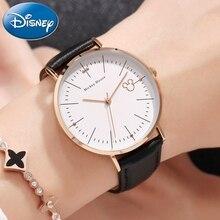 Nya kvinnor Mickey Mouse söt flicka älskar present charmig läder kvarts rund klocka kvinnligt oslagbart pris DISNEY 11027 timme Hot