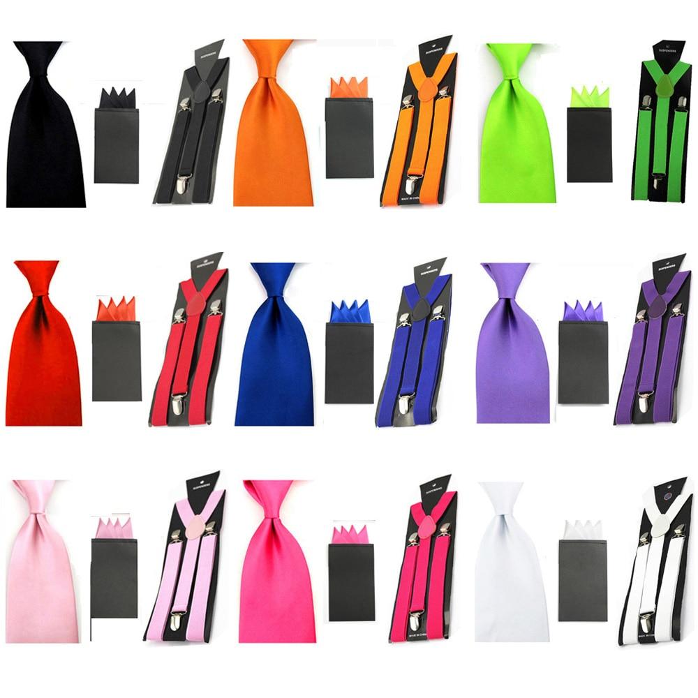 Men's Wide Necktie Wedding Handkerchief Pocket Square Braces Set Solid Color SETBW0049